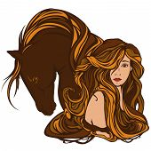 foto of fine art portrait  - beautiful woman with horse  - JPG