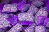 image of sachets  - Dried lavender sachets pile - JPG