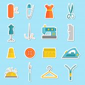 pic of ripper  - Sewing equipment and tailor needlework stickers set with button thimble pin isolated vector illustration - JPG