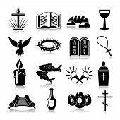 stock photo of religious  - Christianity traditional religious symbols black icons set isolated vector illustration - JPG