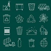 stock photo of landfills  - Garbage recycling icons outline set of landfill truck bottle isolated vector illustration - JPG