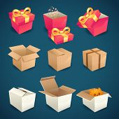 image of packages  - Box and package gift delivery icons set isolated vector illustration - JPG