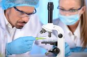 image of conduction  - Two scientists conducting research in a lab environment - JPG