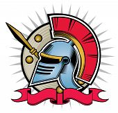 picture of hoplite  - ornament hoplite helmet pattern design shield with banners - JPG