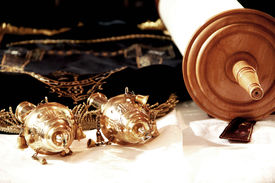 picture of torah  - Torah scrolls; is on the table; wooden handles gold nozzle holder close up ** Note: Soft Focus at 100%, best at smaller sizes - JPG
