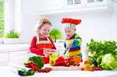 pic of twin baby girls  - Two little children adorable toddler girl in red chef hat and apron and funny baby boy preparing healthy lunch making delicious salad with fresh vegetables and garden herbs in a white sunny kitchen - JPG