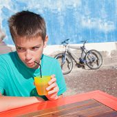 foto of pre-teen boy  - bright cafe  - JPG