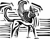 foto of zoroastrianism  - Woodcut style image of mythological winged griffin - JPG