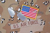 pic of camouflage  - US AIR FORCE concept with dog tags on camouflage uniform - JPG