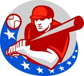 picture of hitter  - Illustration of a american baseball player batter hitter holding bat ready to strike set inside circle with stars on isolated background done in retro style - JPG