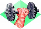 picture of lifting weight  - Low polygon style illustration of a hand lifting dumbbell weight training set inside diamond shape - JPG