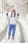 picture of nordic skiing  - Girl cross country skiing - JPG
