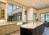 stock photo of slating  - expensive kitchen remodel with open concept - JPG