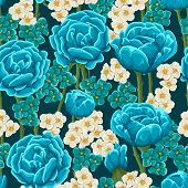 foto of floral bouquet  - Floral seamless pattern with blue roses - JPG