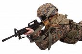 stock photo of m4  - US MARINE with m4 carbine isolated on white - JPG