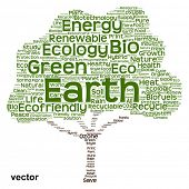 picture of environmental protection  - Vector concept or conceptual green text word cloud as tree isolated on white background - JPG