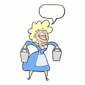 picture of milkmaid  - cartoon milkmaid carrying buckets with speech bubble - JPG