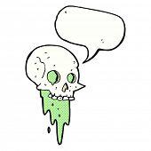 stock photo of grossed out  - gross halloween skull cartoon with speech bubble - JPG