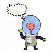 stock photo of cyborg  - cartoon robot cyborg with speech bubble - JPG