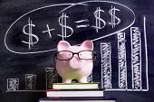 image of piggy  - Pink piggy bank with glasses standing on books next to a blackboard with simple money math - JPG