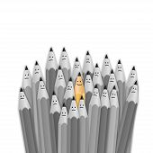 picture of antidepressant  - One bright color smiling pencil among bunch of gray sad pencils - JPG