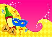 stock photo of purim  - colorful greeting card template for Purim with space for text - JPG