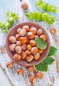 pic of hazelnut  - hazelnuts on a table - JPG