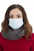 foto of virus  - Woman wearing a virus mask as a prevention of infection - JPG