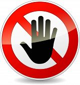 image of no entry  - illustration of no entry sign on white background - JPG
