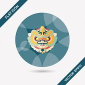 pic of dragon head  - Chinese New Year Flat Icon With Long Shadow - JPG