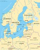 pic of political map  - Baltic Sea Area Political Map with capitals - JPG