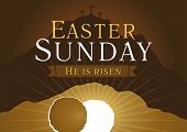 pic of risen  - Template invitation to an Easter Sunday service in the form of rolled away from the tomb stone on a background of Calvary with three crosses - JPG