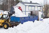 stock photo of wheel loader  - Wheel loader unloading snow on a truck - JPG