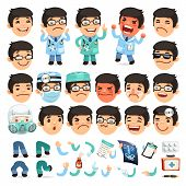stock photo of cartoon character  - Set of Cartoon Doctor Character for Your Design or Animation - JPG
