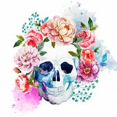 stock photo of horror  - Beautiful watercolor vector pattern with nice skull - JPG