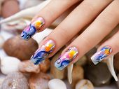 picture of nail-design  - Female beauty hand with sea nails design - JPG