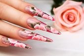 picture of nail-design  - Female hand with beautiful pink floral design on nails.