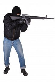 picture of m16  - Robber with M16 rifle isolated on white background - JPG