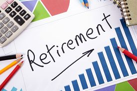picture of retirement  - The word Retirement written on a bar graph surrounded by pencils books and calculator - JPG