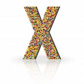 picture of letter x  - Colorful 3D Alphabet Letter X with reflection on white glossy surface - JPG