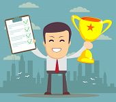 image of trophy  - Vector illustration of businessman proudly standing holding up winning trophy and showing an award certificate - JPG