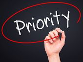 pic of priorities  - Man Hand writing Priority with marker on transparent wipe board - JPG