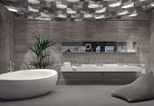 stock photo of monochromatic  - Modern grey luxury bathroom interior with a free - JPG