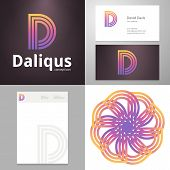 stock photo of letter d  - Design icon letter D element with Business card and paper template - JPG