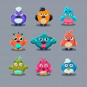 pic of angry bird  - Funny cartoon birds vector illustration set game style - JPG