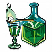 picture of absinthe  - illustration of the glass and bottle with absinthe - JPG