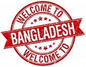 picture of bangladesh  - welcome to Bangladesh red round ribbon stamp - JPG