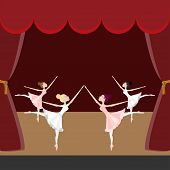 foto of curtains stage  - Performance ceterach ballerina on stage with red curtains - JPG