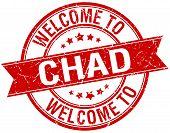 stock photo of chad  - welcome to Chad red round ribbon stamp - JPG