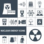 picture of radioactive  - Nuclear energy plant products black icons set with mushroom cloud and radioactivity sign abstract isolated vector illustration - JPG
